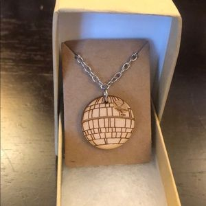 "Jewelry - Star Wars ""Death Star"" Wooden Necklace"